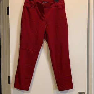 Deep red ankle pants